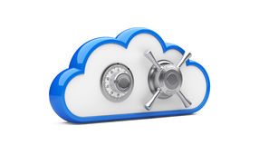 Combination lock and cloud. Security concept. Combination lock and cloud. 3D image on white royalty free illustration