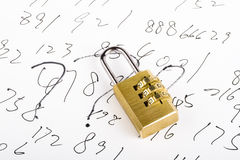 Combination Lock and Code Royalty Free Stock Image