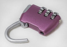 Combination lock. Coded lock, close-up on a white background. digital code. Security, privacy Stock Photos