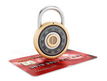 Combination lock on credit card Royalty Free Stock Photo