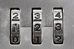 Combination Lock dials. Macro of combination lock - dials set to 123, Shallow focus stock image