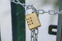 Combination lock in a door stock photos