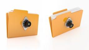 Combination lock folder. 3d render of computer folder with combination lock on white background Royalty Free Stock Image
