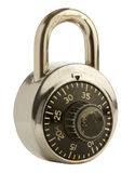 Combination Lock on Isolated Background. A trusty used padlock on an isolated white background.  Clipping Path included Royalty Free Stock Images