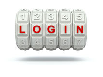 Combination lock with LOGIN. White combination lock with LOGIN - 3D illustration Stock Photos