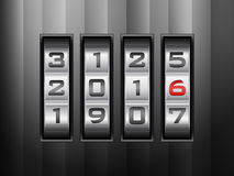 Combination lock 2016. Metallic combination lock 2016 on black Stock Photography