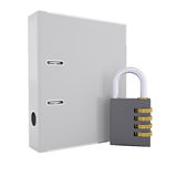 Combination lock and office folder Stock Image