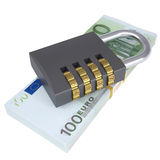 Combination lock on a pack of lies euros Stock Images
