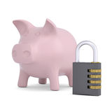 Combination lock and pink piggy bank Stock Photo