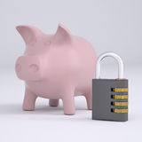 Combination lock and pink piggy bank Stock Photos