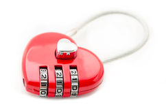 Combination lock red heart shape. Stock Photo
