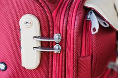 Combination lock on suitcase travel bag Stock Image
