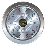 Combination lock for safe. Combination lock with keyhole. Typically found on a bank or gun safe. Dial operation is fully detailed along with an accurate keyhole stock illustration