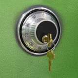 Combination lock on the safe Royalty Free Stock Photos