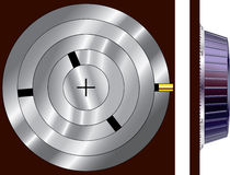 Combination lock side view. Illustration of the side view of a combination lock, showing the interior workings of the lock.  Isolated on a white background Stock Photo