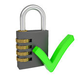 Combination lock and a sign of choice. Isolated render on a white background Stock Image