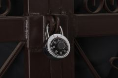 Combination lock. With steel door Stock Photo