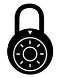 Combination lock symbol. Closeup of combination lock symbol on white background Royalty Free Stock Photos