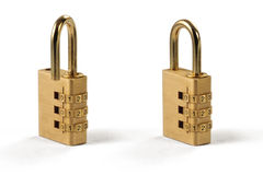 Combination Lock - Unlocked and Locked. Two Isolated Combination Lock, Unlocked and Locked Stock Photos