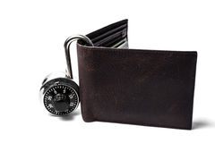 Combination lock and wallet Royalty Free Stock Photography