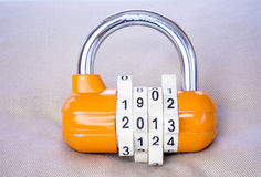 Combination lock with the year as a combination Royalty Free Stock Photography