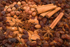 Combination of nuts and spice Royalty Free Stock Photography