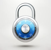 Combination pad lock. Vector illustration of security concept with locked blue combination pad lock stock illustration