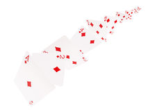 The combination of playing cards .diamonds  . on a white background Royalty Free Stock Photography
