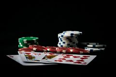 The combination of playing cards poker stock photography