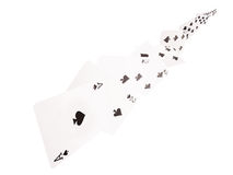 The combination of playing cards .spades  . on a white background Royalty Free Stock Photos