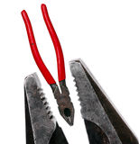 Combination pliers. Lineman's pliers also called combination pliers are a type of pliers used for gripping, twisting, bending and cutting wire and cable Stock Image