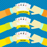 Combination of poker, in the hands of man a Royalty Free Stock Image