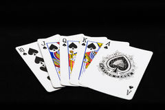 combination of royal flush of playing cards Stock Photo