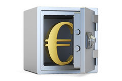 Combination safe box with symbol of euro, 3D rendering Stock Images