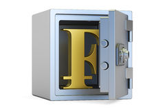 Combination safe box with symbol of franc, 3D rendering Royalty Free Stock Images