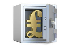 Combination safe box with symbol of pound sterling, 3D rendering Royalty Free Stock Image