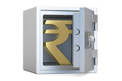 Combination safe box with symbol of rupee, 3D rendering Stock Photography