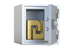 Combination safe box with symbol of shekel, 3D rendering. On white background Stock Image