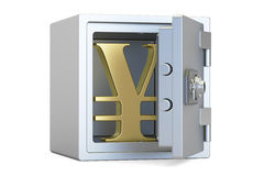 Combination safe box with symbol of yen or yuan, 3D rendering Stock Photo