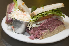Combination sandwich corned  beef rye Royalty Free Stock Photo