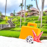 Combination of sandy and suitcase front with blurred balinese countryside Stock Images