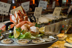 Combination seafood platter Stock Photos