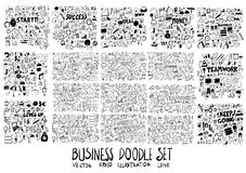 Combination Solid and line Business Money doodle  collecti. On set Royalty Free Stock Photography