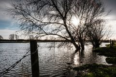 Heavily flooded fields by a riverbank, seen after severe storms within the UK. A combination of a spring tide and easterly winds have created storm surge Royalty Free Stock Photo