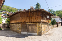 The combination of stone and wood in the architecture of the old Lovech, Bulgaria Stock Photos