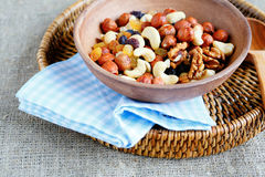 Combination of various nuts in a large bowl Stock Photography