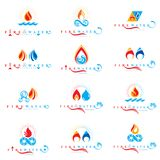 Combination of water and fire elements abstract logotypes collec. Tion, nature power Royalty Free Stock Photos