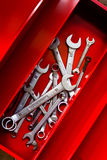 Combination wrench in a red toolbox Stock Photo