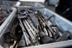 Combination wrenches, spanner, diverse wrench tools in garage.  royalty free stock images