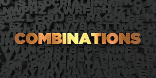 Combinations - Gold text on black background - 3D rendered royalty free stock picture Royalty Free Stock Images